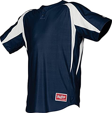 Rawlings Men's 2-Button Jersey with Inserts, Large, Navy
