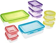 Amazon Brand - Solimo Storage Container Set, 6.3 Litre, Set of 10, Multicolor