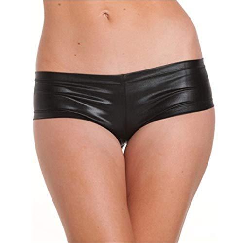 Flydo Damen Sexy Hot-Pants Shorts Panty Metallic Wetlook GoGo Hotpants Slips Hipsters Unterwäsche Unterhose Booty Shorts Boxer Shorts