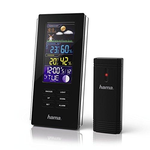 Hama Funk-Wetterstation mit Farbdisplay inkl. Außen-Sensor (Thermometer, Hygrometer, Barometer, Uhr, Mondphasen, Wettervorhersage, misst Innen- und Außen-Temperatur und -Luftfeuchtigkeit, Wanduhr) schwarz
