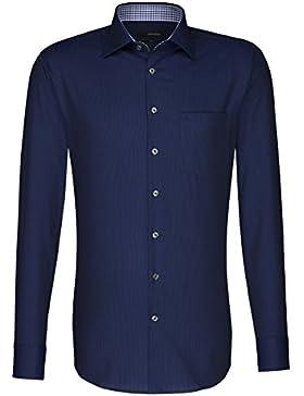 Seidensticker Herren Langarm Hemd Uno Regular Fit blau gestreift mit Patch 131036.18
