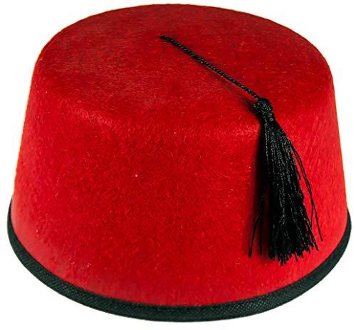 Unisex Fez aus rotem Filz mit schwarzer Quaste für Kostüm - Rot, Einheitsgröße (Fez Fancy Dress Kostüm)