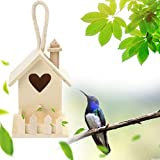 ToDIDAF Wooden Bird House, Creative Wall Hanging Wood Hummingbird House Wood Wooden Standing Birdhouse Home Outdoor Garden Decoration Accessory