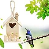 FBGood Mangiatoia per Uccelli sospesa - Mangiatoia per Uccelli in Legno Impermeabile Distributore di mangime per Uccelli, Stazione, Tenda da Parete Creativa Nido d'uccello, in Legno Kaki