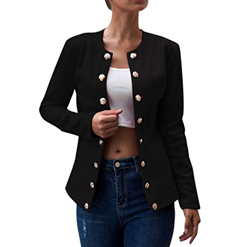 BIKETAFUWY Damen Blazer Freizeit Stehkragen Business Büro Anzug Jacken Elegant Mantel mit Knopfleiste Military Coat Lang Blazer Slim Fit Blazer Anzüge Freizeitjacke Anzugjacke -