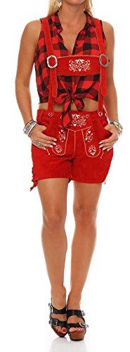 Gennadi Hoppe Damen Trachten Lederhose Oktoberfest Shorts (42, rot)