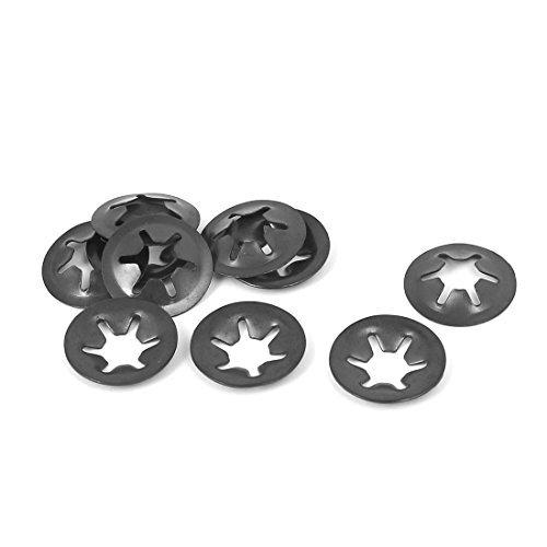 DealMux 16 mm Diámetro externo de metal Starlock encaje a presión Arandela de bloqueo de tornillos negros 10pcs