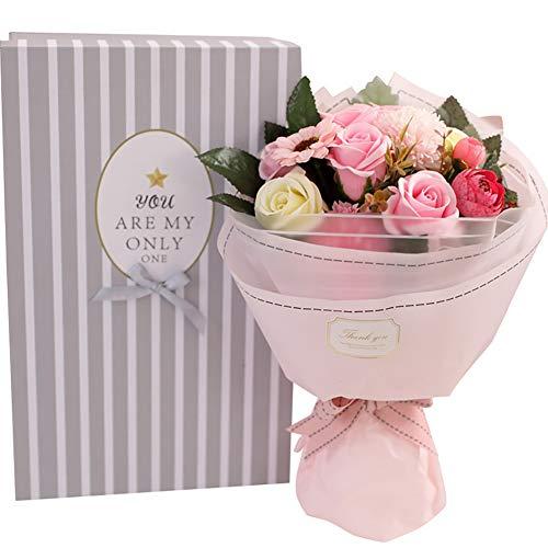 Tolyneil sapone bouquet di fiori, home supply decorazione floreale handmade sapone artificiale fiore rose bouquet festa della mamma regali creativi regalo di san valentino (rosa)