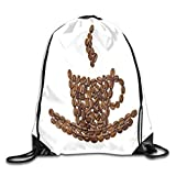 gthytjhv Drawstring Bag Coffee Tea Rucksack for Gym Hiking Travel Customized Color 02 Lightweight Unique 16.9x14.2