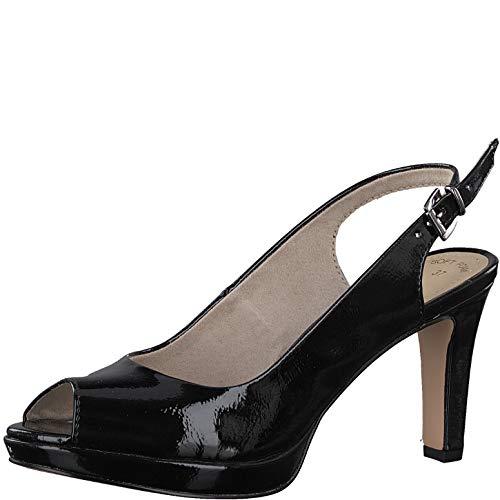 s.Oliver Damen Sling-Pumps 29602-20,Frauen Slingback Pumps,Modisch,Fashion,Black Patent,38 EU