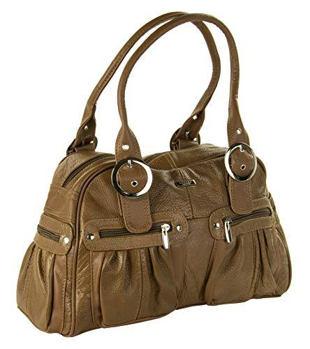 WIH , Damen Tote-Tasche braun hautfarben 35 x 26 x 15 (cm) - Zwei-ton-reißverschluss Tote