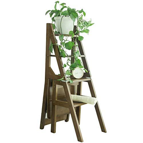 QQXX Klappstuhl Retro Bamboo Faltbare Multifunktions rutschfeste Kletter Notwendigkeit zu installieren, 4 Stufenleiter, 3 Farben Dual-Use (Farbe: Braun)