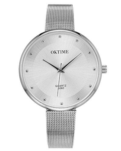 JSDDE Elegante Damen Armbanduhr Quarz Wasserdicht Schöne Zeitloses Design Uhr Mesh Metallarmband Quarzuhr,Silber