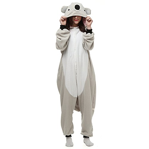 dressfan Unisex Adult Kinder Tier Pyjamas Grau Koala Cosplay Kostüm (Adult Halloween Kostüme Frauen)