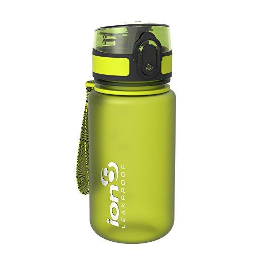 Ion8- Bottiglia per l'acqua, a prova di perdite, senza BPA., Bambino, Kid's Leak Proof BPA Free, Frosted Green, 350 ml