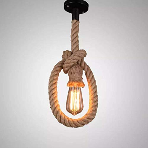 Vintage sospensione lampadari corda Edison Retro lampada a sospensione con portalampada E27 e tettuccio (senza lampadina) Singola testa