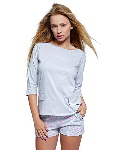 SENSIS charmantes Nachtwäsche-Set aus feinem Baumwoll-Shirt und koketten Shorts (L (40), grau mit Federn) (Capri-baumwoll-pyjama Set)