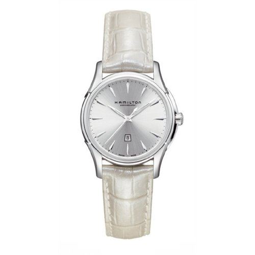 Hamilton Women's 34mm White Leather Band Steel Case Automatic Silver-Tone Dial Analog Watch H32315851