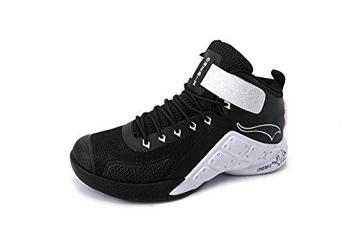 Onemix Herren Mid Air Basketballschuhe,Alltag Freizeit Basketball Schuhe Shoes,Gr 39-46 Schwarz-Weiss