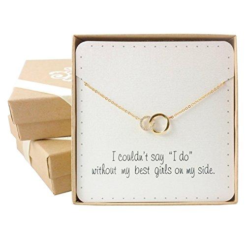 ke – Halskette mit elegant ineinandergreifenden Kreisen, (15, Goldfarbe, Kristallbesetzt) von Bride Dazzle (Brautjungfer-geschenk-boxen)