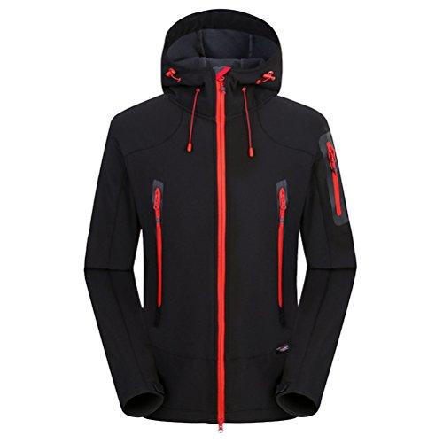 Zhhlinyuan Mens De plein air Waterproof Jacket Hiking Climb Clothing Fleece Softshell Coat Black