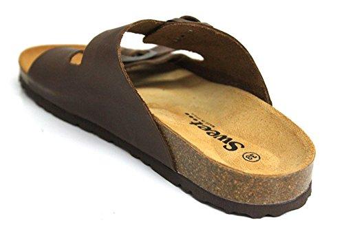 Sweet Malaga pour femme en cuir marron boucle Semelle d'été Sandales Taille 3–8 Marron - marron