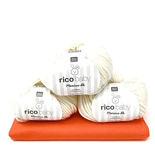 Camtiac Rico Baby Merino dk 001-weiß Babywolle Merinowolle Extrafine 3x25g Superwash Wolle zum Babysachen Stricken & häkeln -