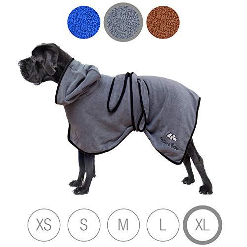 Bella & Balu Hundebademantel aus Mikrofaser - Saugfähiger Hunde Bademantel zum Trocknen nach dem Baden, Schwimmen oder Spaziergang im Regen (XL | Grau)