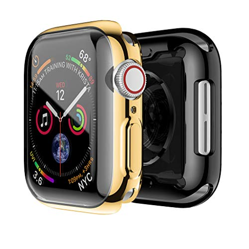 2PC Galvanisieren Weiche TPU Rahmen Stoßstange Displayschutzfolie Hülle Für Apple Watch Serie 4 44mm