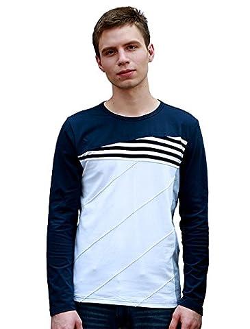 Allegra K Men Crew Neck Color Block Stripes Tee Shirt Blue White S
