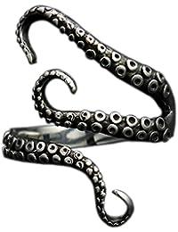 Anillo abierto, acero inoxidable 316L, diseño pirata con tentáculos de pulpo, negro, en forma de S, tamaño único