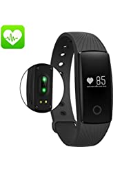 Fitness Armband Pulsmesser and Wellness Activity Tracker, ID107 Plus Fitness Tracker Smartwatch Smartband Bluetooth Sport Smart Heart Rate Monitor Smart Bracelet Sports Sleep Tracking Health Fitness Pedometer Sleep Bracelet For IOS Android Smartphones