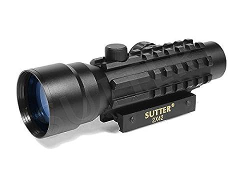 Multi Dot Viseur point rouge & Red Dot Sight 2x42 (rouge/vert)   pour rails de Weaver & Picatinny   De serrage rapide   Lunette de visée chasse & Airsoft