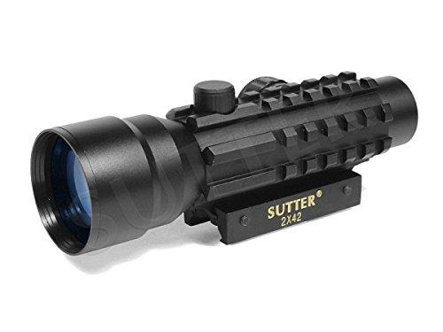 Leuchtpunktvisier 2x42 - Red Dot Visier mit passenden FlipCaps für Okular & Objektiv * Reflexvisier Rotpunkt RedDot Zielvisier Zielfernrohr Zielgerät