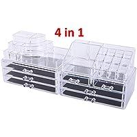 Oule GmbH Kosmetik Aufbewahrung Organizer 4 in 1 Make-Up Schmuck-Box Klar Acryl MIT 7 Schubladen 8 Ebenen