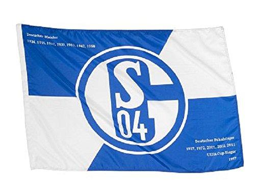 "FC Schalke 04 Hissfahne/ Hissflagge ""Erfolge"" 150x100 cm (Fahne) (2 Ösen)"