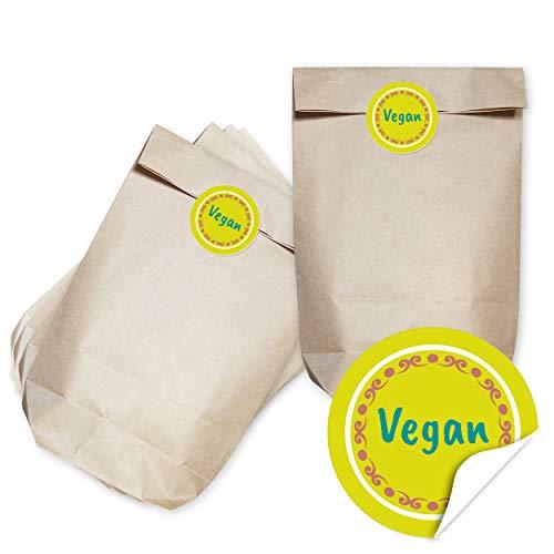 Geschenktüten Set - Vegan öko - 24 braune Papiertüten (Kraftpapier braun) und passende runde Papier-Aufkleber/für Kunden, als Give-Away, zur Hochzeit oder zu Weihnachten