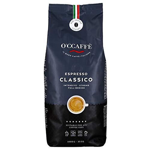 O'ccaffè Espresso Bar | starker, intensiver Kaffee mit feiner Haselnuss Note | Barista-Qualität aus italienischem Familienbetrieb | 1kg ganze Bohnen -