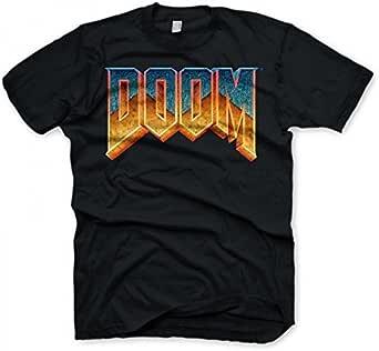 DOOM - T-shirt con scollo tondo, Uomo, Nero (Black), XL