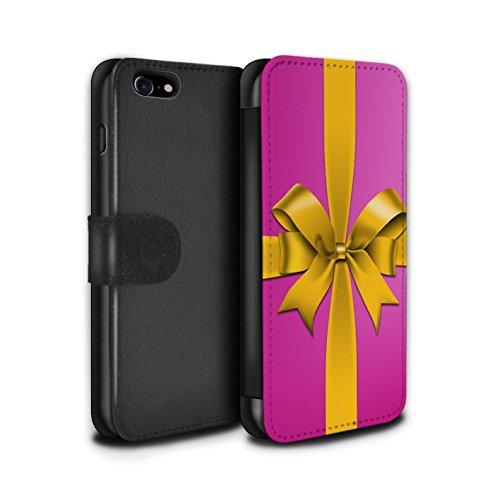 Stuff4 Coque/Etui/Housse Cuir PU Case/Cover pour Apple iPhone 7 / Jaune Design / Cadeau de Noël Collection Rose