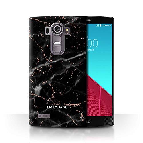 Personalisiert Individuell Roségold Glitter Marmor Hülle für LG G4 Beat/H735 / Schwarzer Marmor Glitter Stempel Design/Initiale/Name/Text Schutzhülle/Case/Etui (Skins Beats Glitter)