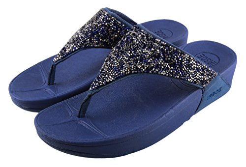 IRSOE Woman Wedges Sandal with Silver and Blue Diamonds on T Strap- Blue 4 UK/INDIA