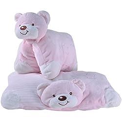 Tris&Ton Cojín bebé Peluche osito infantil bebé niño niña, oso cojín peluche suave felpa modelo Rosa (Trisyton)