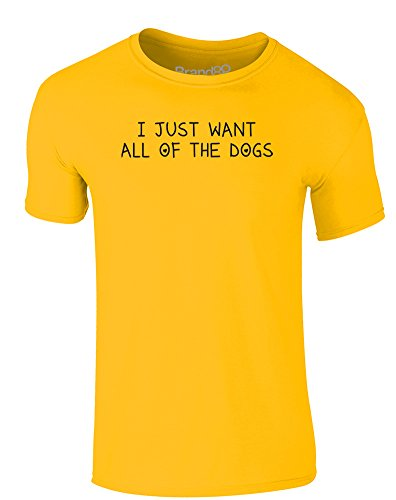 Brand88 - I Just Want All of the Dogs, Erwachsene Gedrucktes T-Shirt Gänseblümchen-Gelb/Schwarz