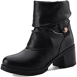 AllhqFashion Mujeres Tacón Medio Material Suave Caña Baja Tachonado Sin Cordones Botas, Negro, 37