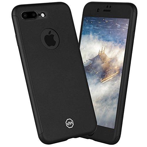 iPhone 7case: Fogeek ultra slim [leggero] Full Body protettiva Dual Layer copertura opaca iPhone 7custodia cover con schermo in vetro temperato, PLASTICA, Black, iPhone 8 Plus / iPhone 7 Plus Black