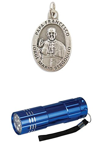 Zisaline-Kombi Oxydierte Medaille oval Papst Franziskus/heiliger Franziskus 2,7 cm (951988319236140) mit LED Alu Taschenlampe