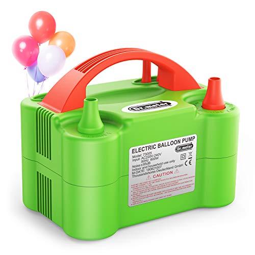 Dr.meter Ballon-Luftpumpe, Elektrische Luftballonpumpe mit Doppeldüse Inflatorgebläse Tragbare Pumpe für Party, Hochzeit, Geburtstag, Werbemaßnahmen und Festivaldekoration (Luftballon Pumpe Elektrische)