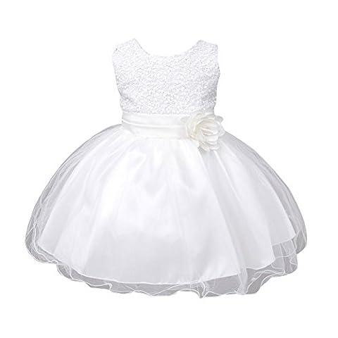 Loveble Baby Girls Sleeveless Floral Belt Sequined Princess Dress For 0-24 Months