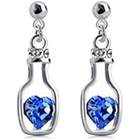 Ciondola bottiglie deriva argento orecchini placcati dello zaffiro blu cristallo Swarovski Elements orecchini di goccia